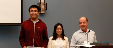 Graduate Students Jinxuan Cheng and Hanzhi Zhang Receiving Awards - 2016 (372x158)